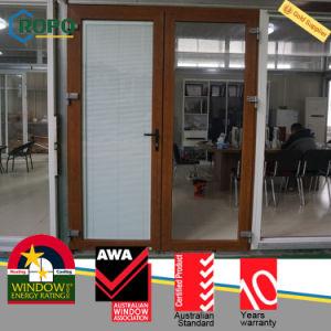 UPVC Plastic Exterior Wooden Colour French Glass Door Australia Standards pictures & photos