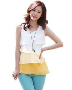 Multi-Colors Flounce Sleeveless Tiered Blouse pictures & photos