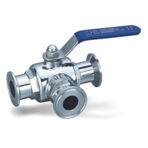 Sanitary Stainless Steel Three Way Clamped Ball Valve pictures & photos