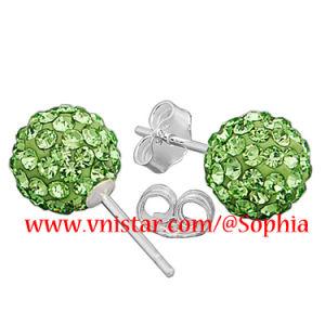 925 Sterling Silver Green Crystal Stud Earrings (VS078-3)