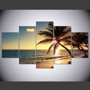 Unframed 5 Piece Beach Coconut Tree Modern Home Wall Decor Canvas Picture Art HD Print Painting on Canvas Artworks Mc-164 pictures & photos