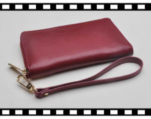 RFID Blocking Functional Soft Leather Lady Wrist Wallet with Zipper Enclosure pictures & photos
