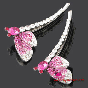 Quality Metal Pink Glass Stone Hair Clip