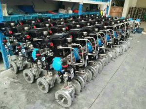 Pneumatic Actuator Flange Connection 3 Way Ball Valve with Limit Switch pictures & photos