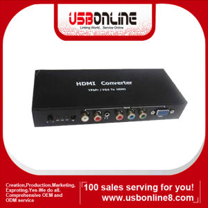 Ypbpr/VGA to HDMI Converter 1080p Video Audio RCA L/R