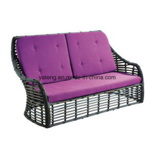 Foshan Factory Handmade Outdoor Furniture Aluminum Frame PE Wicker Double Sofa pictures & photos