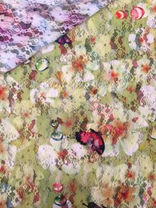 Hot Selling Butterfly Printed Flower Swiss Lace Fabric with 150cm Width pictures & photos