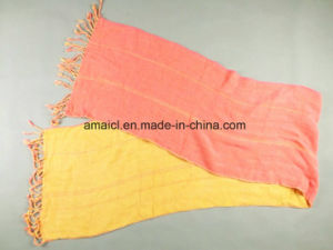 Double Colours Solid Dyed Scarf Two Sides Color Acrylic Tassel for Ladies (ABF22005200) pictures & photos