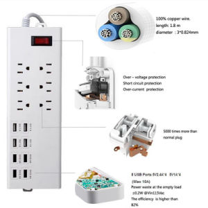 6 Outlet Socket Power Strip 8 Ports USB Extension Charger with Us Standard Plug Socket pictures & photos