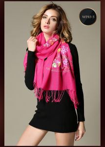 Black Embroidered Wool Scarf for Women Mei Red pictures & photos
