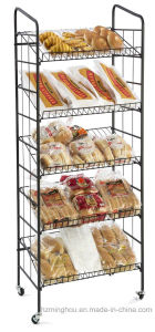 Retail Iron Rolling Baker Snake Food Display Rack with 5-Shelves pictures & photos