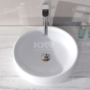 White Round Solid Surface Stone Bathroom Vessel Sink (V1706205) pictures & photos