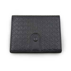 Minimalist Men′s Slim Black Leather Wallet, Personalized, Short Wallet pictures & photos