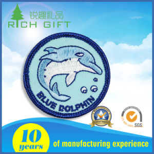 Customized Adorable Blue Dolphin Embroidery Patch pictures & photos