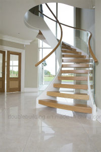 Curved Stainless Steel Staircase with Arc Glass Railing pictures & photos