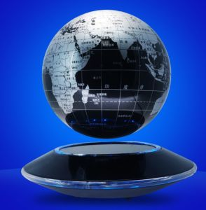 "Magnetic Maglev Levitation Levitron Floating Rotating 6"" Globe in Gold-Yellow & Silver Color pictures & photos"
