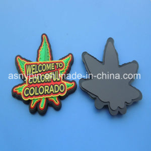 Custom 3D Green Maple Leaf Rubber Fridge Magnet for Colorado pictures & photos