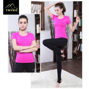 Yoga T Shirt Short Sleeve Fitness Tops pictures & photos