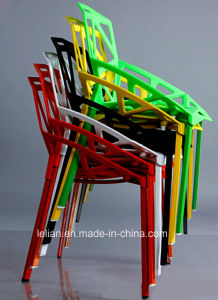 Painted Metal Legs with Plastic Seating Stack Chair (LL-0042) pictures & photos