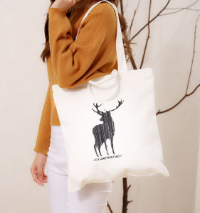 Custom Print Ladies Organic Cotton Canvas Plain White Tote Bag pictures & photos