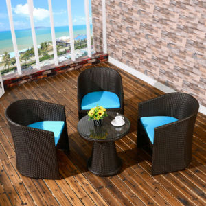 Foshan Outdoor Furniture Rattan Stacking Chair Glass Table Garden Sets (Z307) pictures & photos