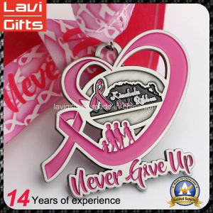 Custom Pink Ribbon Mother′s Day Running Finisher Medal pictures & photos