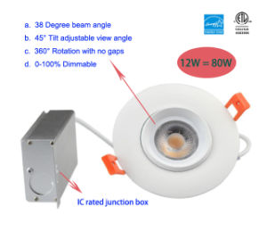 12W 90-100lm/W Adjustable Dimmable LED Recessed Lighting pictures & photos