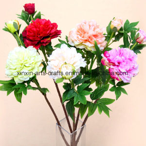 High Quality Fake Peony Artificial Flowers 1flower with 1bud pictures & photos
