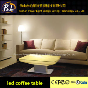 LED Furniture Colorful LED Square Coffee Table with Stainless Steel Base Side Table pictures & photos