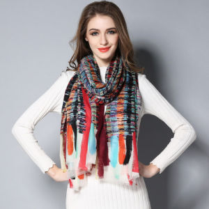 Wool Geometric Patterns Digital Printing Scarf for Lady