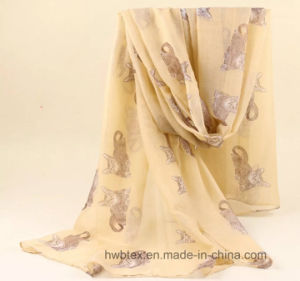 Fashion 100% Polyester Voile Printed Women′s Scarf with Cat Design (HWBPS024) pictures & photos