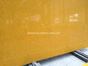 Solid Surface Yellow Quartz Stone Slab pictures & photos