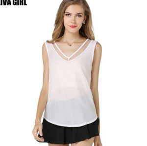Fashion Womens Summer Casual Chiffon Vest Sleeveless Shirt Blouse pictures & photos