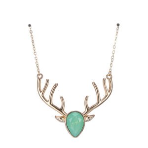 Fashion Christmas Deer Choker Necklace & Pendant for Women Green Crystal Opal Copper Party Jewelry pictures & photos