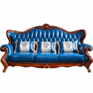 Classical Leather Sofa with Cabinets for Living Room Furniture