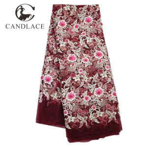 Wine Red High Quality 3D Flower French Lace pictures & photos