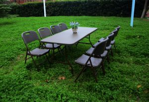 6FT Plastic Rattan Design Folding Table and Bench Set pictures & photos
