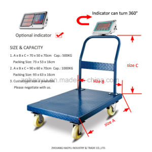 Digital Easy Moving Trolley Scales with Four Wheels pictures & photos