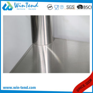 Stainless Steel Round Tube Shelf Reinforced Robust Construction Solid Work Table with Backsplash and Height Adjustable Leg pictures & photos