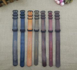 Retro Vintage Style Cow Leather Zulu Watch Strap Belt 7 Colors-Kz1292