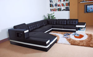 Home Furniture Black Leather Sofa with Couch (HC1047) pictures & photos