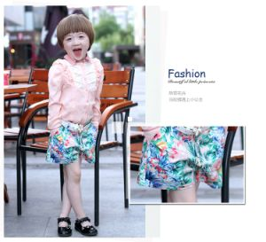 Girls Short Pants with Full Printed Woven Fabric for Summer pictures & photos