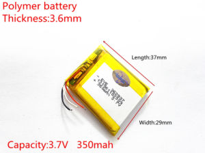 3.7 V 362937pl 350mAh Lithium Ion Battery pictures & photos