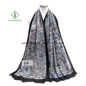 Flower Printed Shawl Thick Satin Fashion Lady Scarf pictures & photos