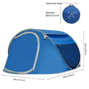 Large Pop up Backpacking Camping Hiking Tent Automatic Instant Setup Easy Fold Back Shelter Travelling Beach Shelter with Anti-UV Coating for 2-3 Person pictures & photos