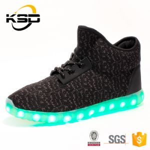 Best Sell Yeezy High Quality Cheap Price LED Shoe OEM Flyknit Fabric Material Casual Party Shoe Light pictures & photos
