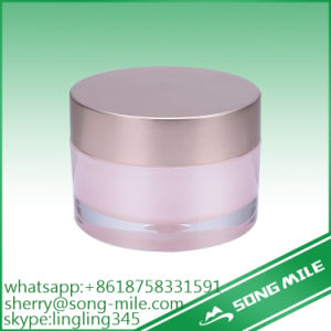 Frosted Plastic Acrylic Cream Jar for Makeup with Aluminum Cap pictures & photos