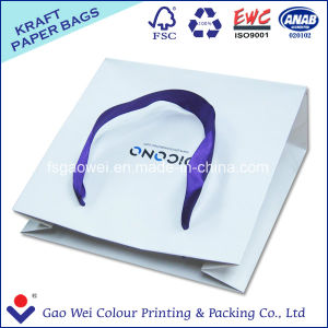 Custom High Quality White Kraft Paper Shopping Bag with Logo Print pictures & photos