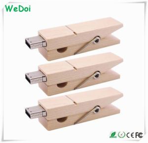Clip Wooden USB Flash Drive with 1 Year Warranty as Promotional Gift (WY-W47) pictures & photos