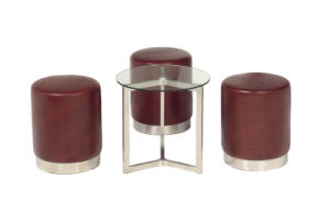 Modern Round Stainless Steel Leather Ottoman pictures & photos